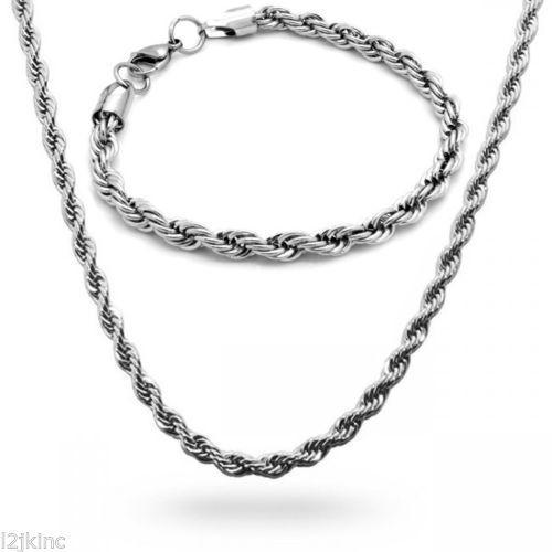 """Collana in acciaio inossidabile da 5 mm con catena a corda francese Collana da uomo da 30 """"pollici"""