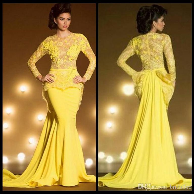 Abiti da sera formali in pizzo vintage con maniche lunghe Mermaid Appliqued Sheer Jewel Neck Peplum Prom Dress Abiti gialli trasparenti