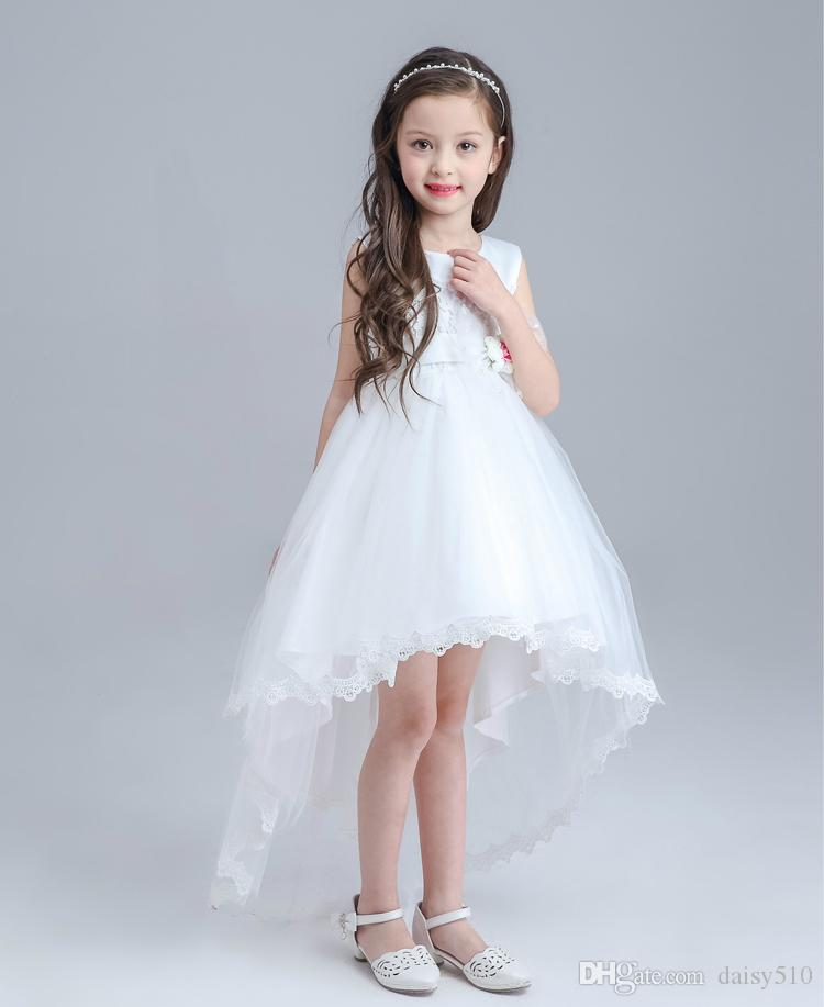 Elegant Baby Girl Cute Floral Asymmetric Hollow Out Solid Mesh Long ...