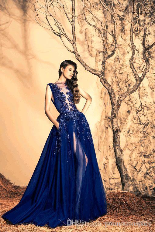2016 Ziad Nakad Son Elbise Tasarımları Mavi Uzun Abiye giyim Online Parti Elbise Kadınlar Zarif Abiye vestidos de dresses