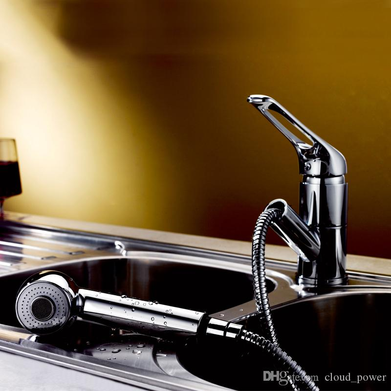 2020 Pull Out Spray Kitchen Faucet Polished Chrome Water Saving Dual Function Spout Sprayer Kitchen Sink Faucets Brass From Cloud Power 78 69 Dhgate Com