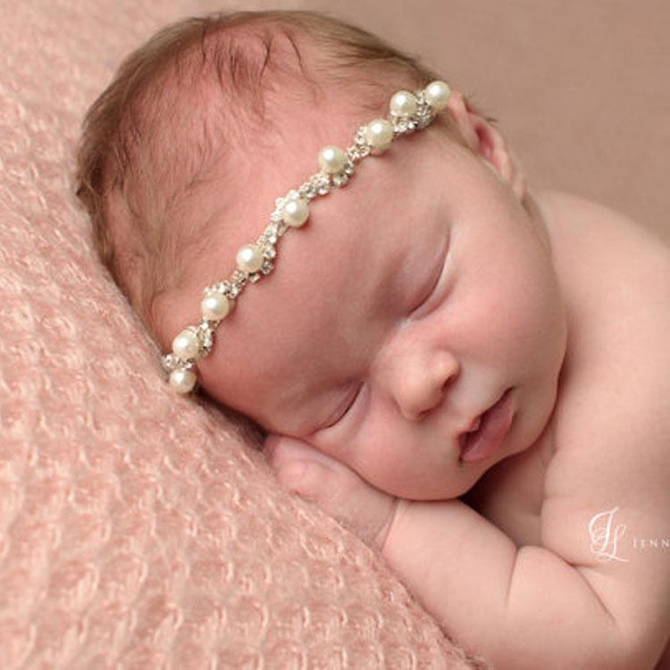 Baby Girls Pearl Rhinestone Headbands Infant Elastic White Pearl Hairbands Head Band Children Hair Accessories Girls Wedding Headwear KHA351