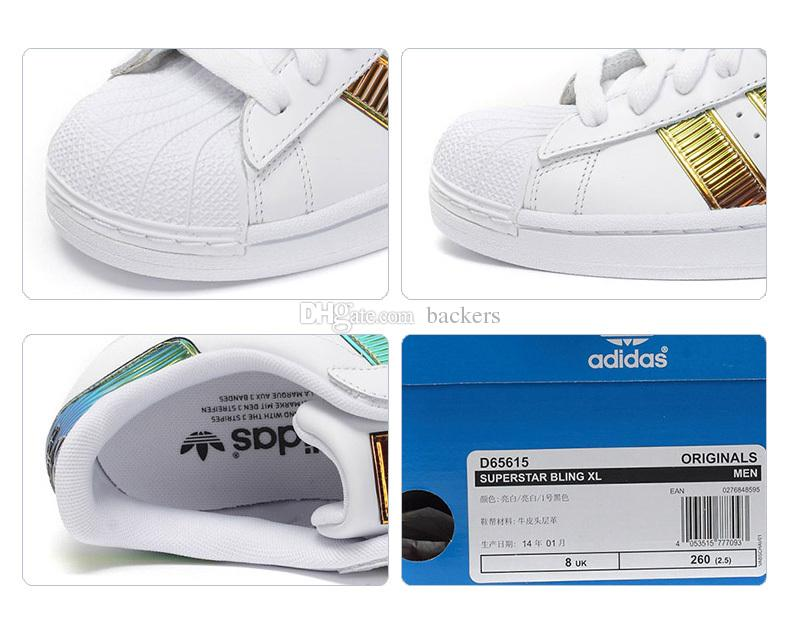 Original Adidas Superstar Bling XL 3D Running Shoes Men Women Super Star Sneakers Cheap Brand Runs Boost Gold White With Box 2016 Free Ship On Running