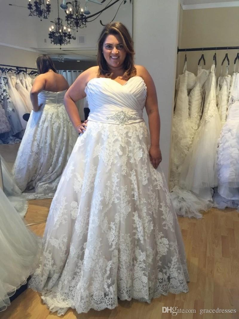 Plus Size Wedding Dress Ball Gown Ruched Sweetheart Empire Waist ...