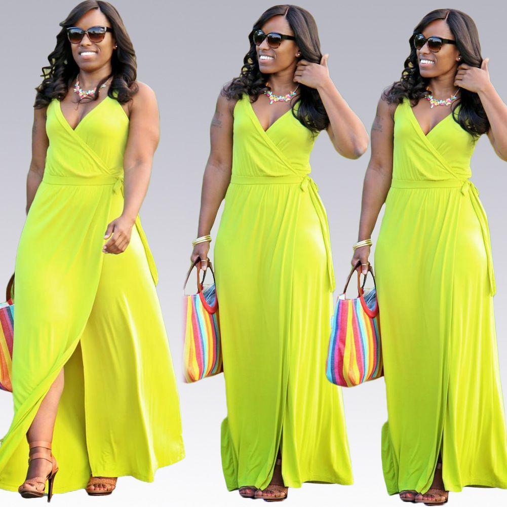 Vestidos New 2016 Summer Women Casual Loose Deep V Neck Long Maxi Dress Sexy Split Cotton Dress Beach Boho Long Dress Plus Size