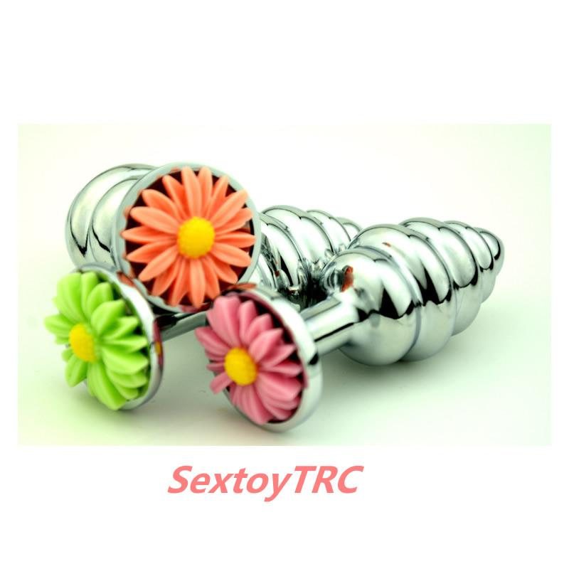 Neue Stil Blume Basis Chrysantheme Anal Plug Spirale Butt Plugs Anus Eindringling Metall Stahl Bdsm Sex Toys Fetisch Erwachsene Neuheit B0101048