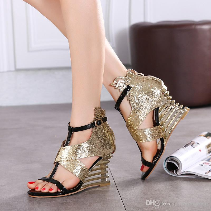 Gorgeous sequined gold silver hollow out wedge heel shoes women party evening prom gown dress shoes 9cm size 35 to 40