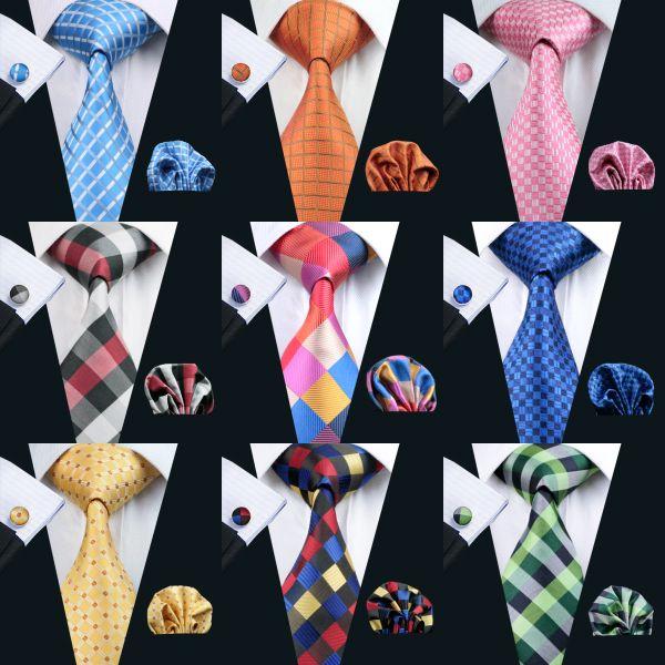 남성 클래식 실크 손수건 커프스 자카드 직물 도매 넥타이 남성의 넥타이 세트에 대한 빠른 배송 격자 무늬 넥타이 세트 시리즈 타이 세트