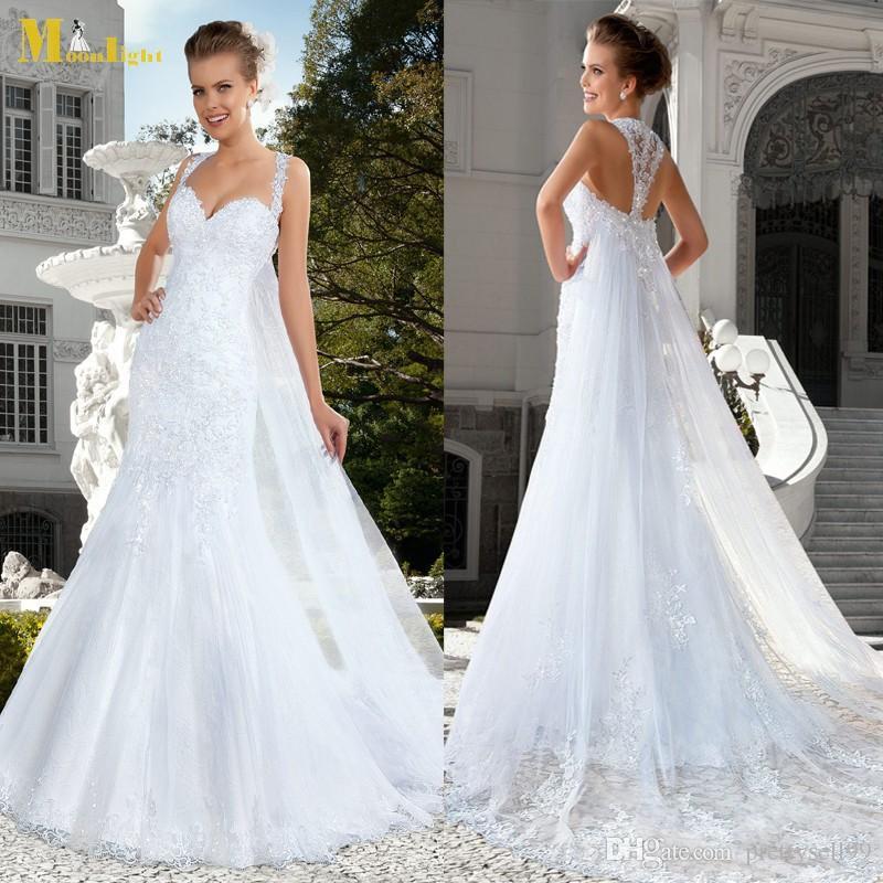 Personalizados Renda Vestidos de casamento da sereia com cercadura apliques querido Spaghetti Strap Tribunal Trem Backless casamento vestidos de noiva