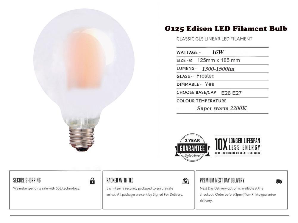 Chaud GivréeAmpoule À 220vacObscurcissant G125 Filament 2200kCulot Acheter Led 68 E26 Globe AncienneSuper Edison E27110v 16wLampe De45 D92HIWEY