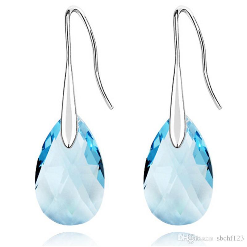 Moda Uzun Küpe Swarovski Elements ile Yapılan Avusturyalı Kristal Su Damlası Dangle Küpe Kadınlar Takı Için 18 K Beyaz Altın Kaplama 310