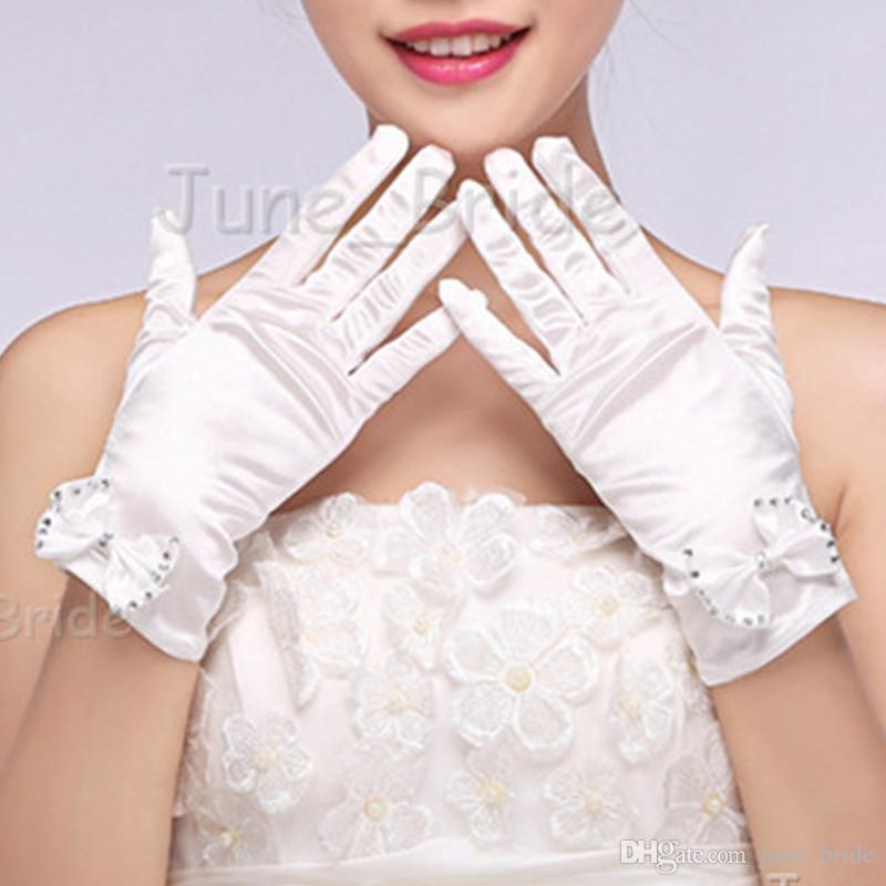 Women Bride Evening Dress Prom Wrist Short Finger Satin White Party Gloves US