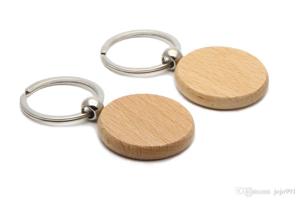 빈 나무 열쇠 고리 서클 1.25 ''키 체인 무료 배송