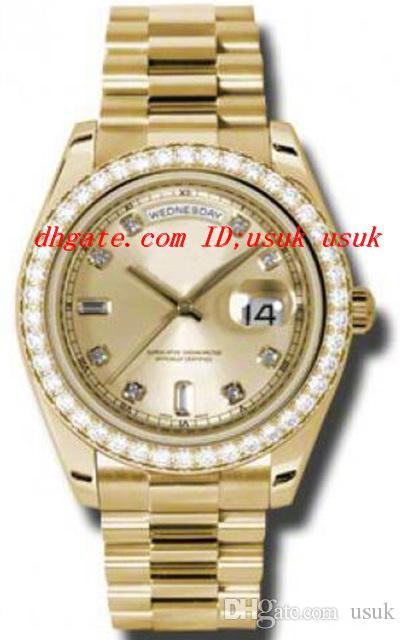 Orologi da polso di alta qualità di lusso orologi quadrante champagne in oro giallo 18 carati movimento meccanico automatico orologio da uomo