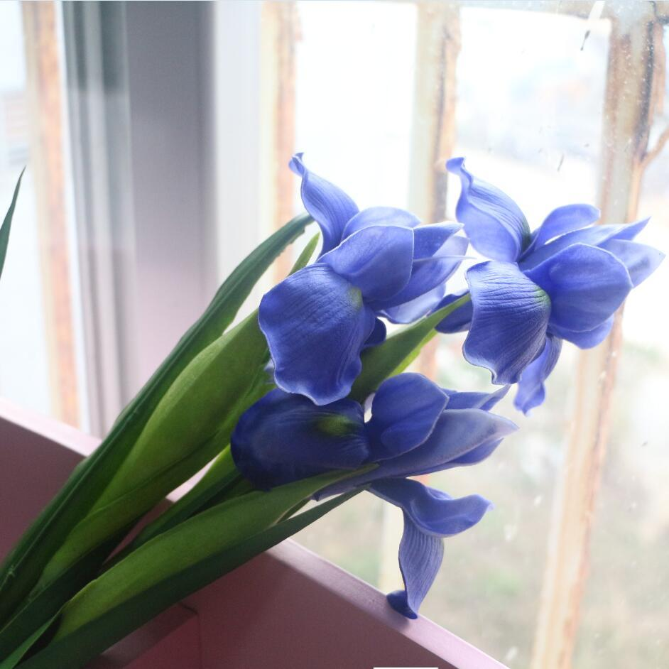 blue iris artificial flower real touch flower iris for home wedding hotel decoration yellow white purple