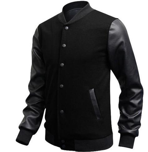 Veste Homme 2016 Autumn Slim Fit Casual Sports Baseball Jackets PU Leather Sleeve Jacket Men Bomber Jackets And Coats