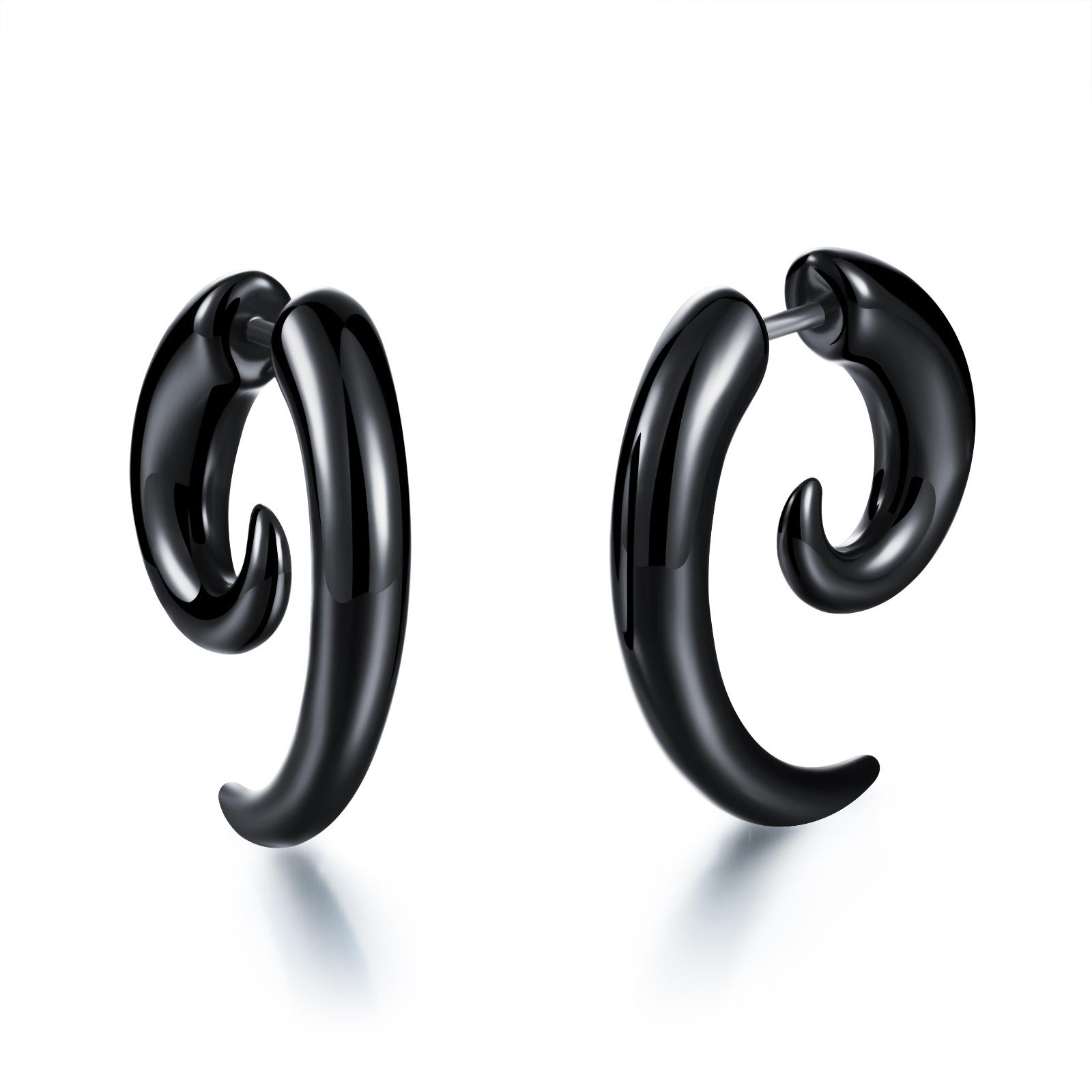 Comfortable Light Weight PVC Spiral Earrings Horn Claw Shaped Studs Cheater Fake Ear Plugs Black