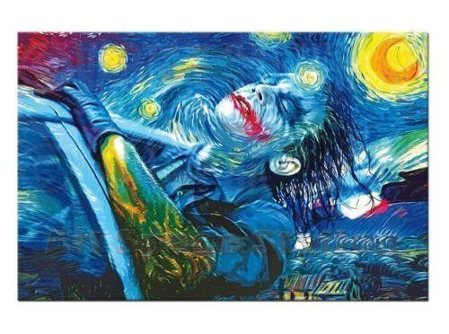 Çoklu Boyutu'nda ev dekor için Tuval üzerine Çerçeveli Yıldızlı Gece Joker Yüksek Kalite Handpainted Özet Duvar Sanat Yağlıboya Resim