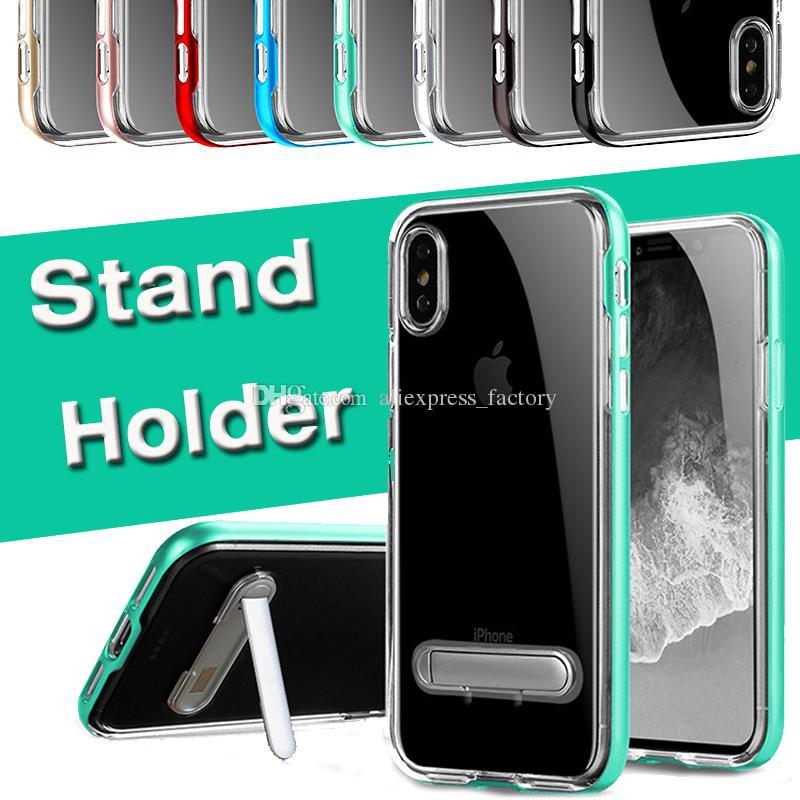 스탠드 홀더 프레임 커버 하드 케이스 아이폰 (11) 프로 맥스 XS XR X 8 7 6 6S 플러스 삼성 갤럭시와 1 클리어 TPU + PC 충격 방지 2 하이브리드