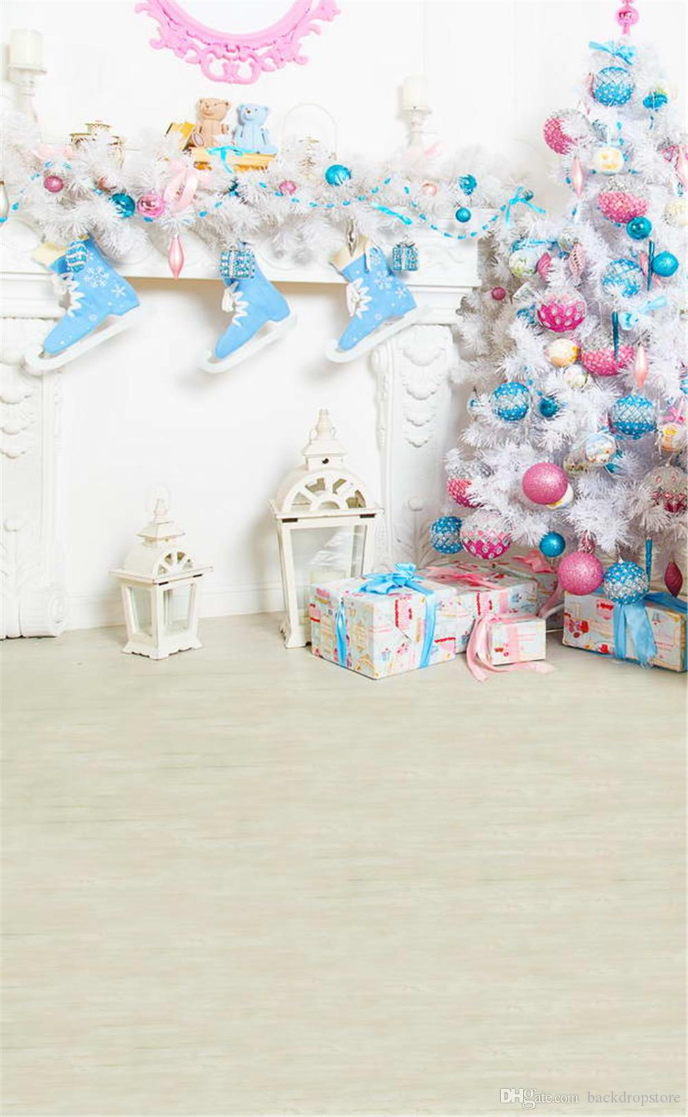 2021 Indoor Photography Backdrops Vinyl White Christmas Tree With Pink Blue Balls Gift Boxes Toy Bear Kids Baby Winter Holiday Photo Background From Backdropstore 16 73 Dhgate Com