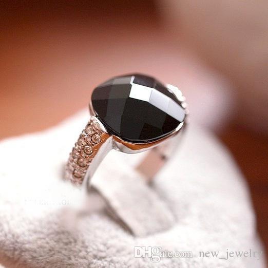Anelb Peppers in Micro Square Black Onyx Crystal 925 Sterling Zilveren Ring Vintage Sieraden Ringen voor Vrouwen