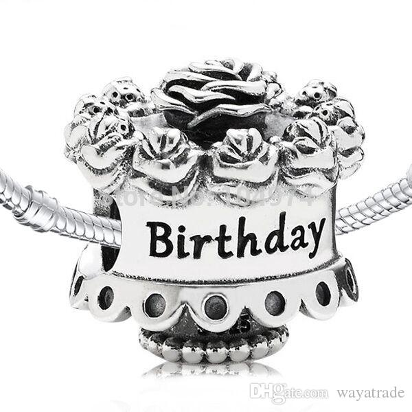 Best Wholesale Flower Birthday Cake Charm 925 Sterling Silver