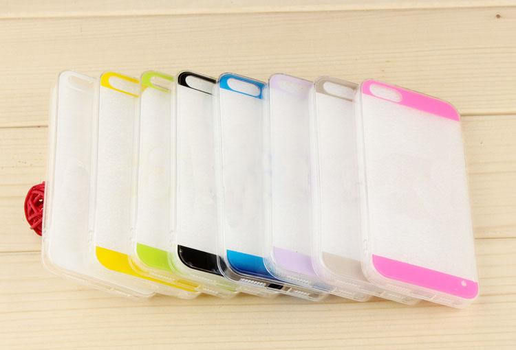 100pc/lot 0.3mm Ultra Thin Transparent Acrylic Case Cover For iPhone 5 5s 5G Twin Colors Stripe Clear Acrylic Plastic Case Cover
