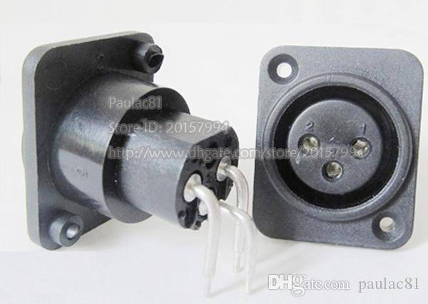 XLR 3Pin Femelle Jack Droite Coudé Connecteur Adaptateur Noir Couleur / Livraison Gratuite / 6 PCS