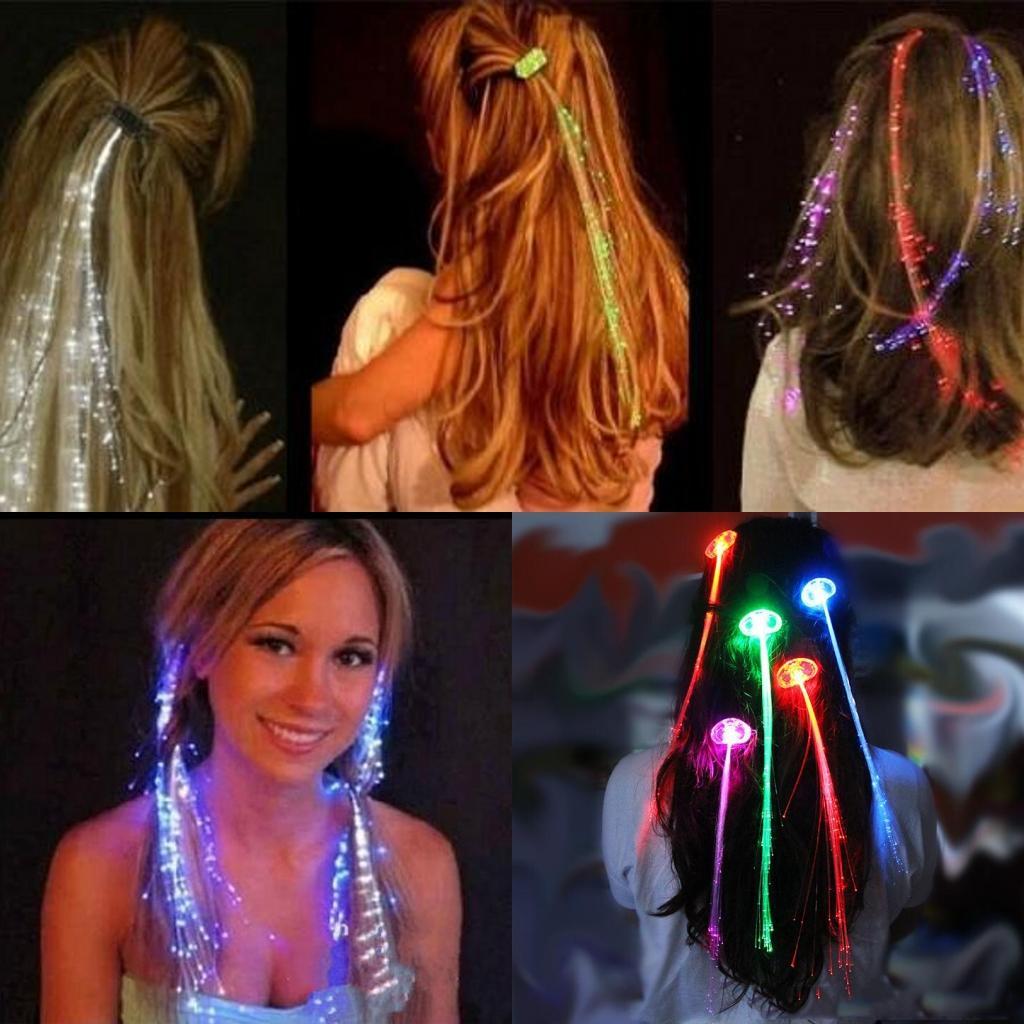 50 adet / grup Parti Led Saç Örgü Çocuk Doğum Günü Partisi Dekorasyon Led Flaş Saç Bar Kulübü Kutlama Malzemeleri LED Saç Renkli Işık