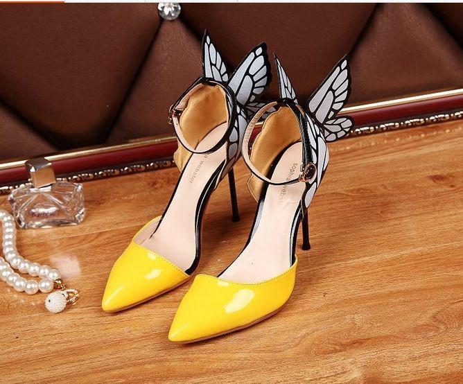 Envío gratis Señoras de cuero Real 9 cm sandalias de tacón alto hebilla negro / blanco sólido sophia webster adornos de mariposa pillaje amarillo size34-42