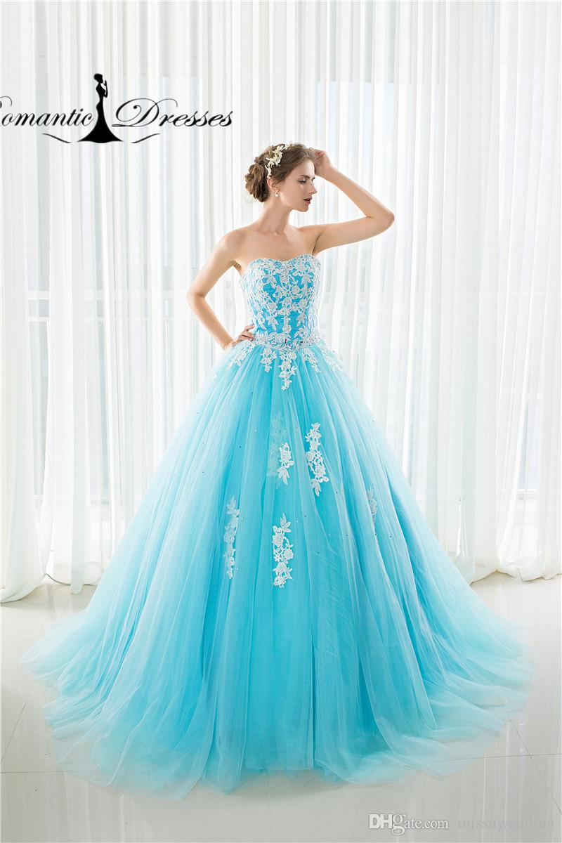 dd7c72868db ... Sweetheart Ball Gown Prom Dresses Romantic Dresses Real Photos Sky Blue  White Lace Appliques Long Evening