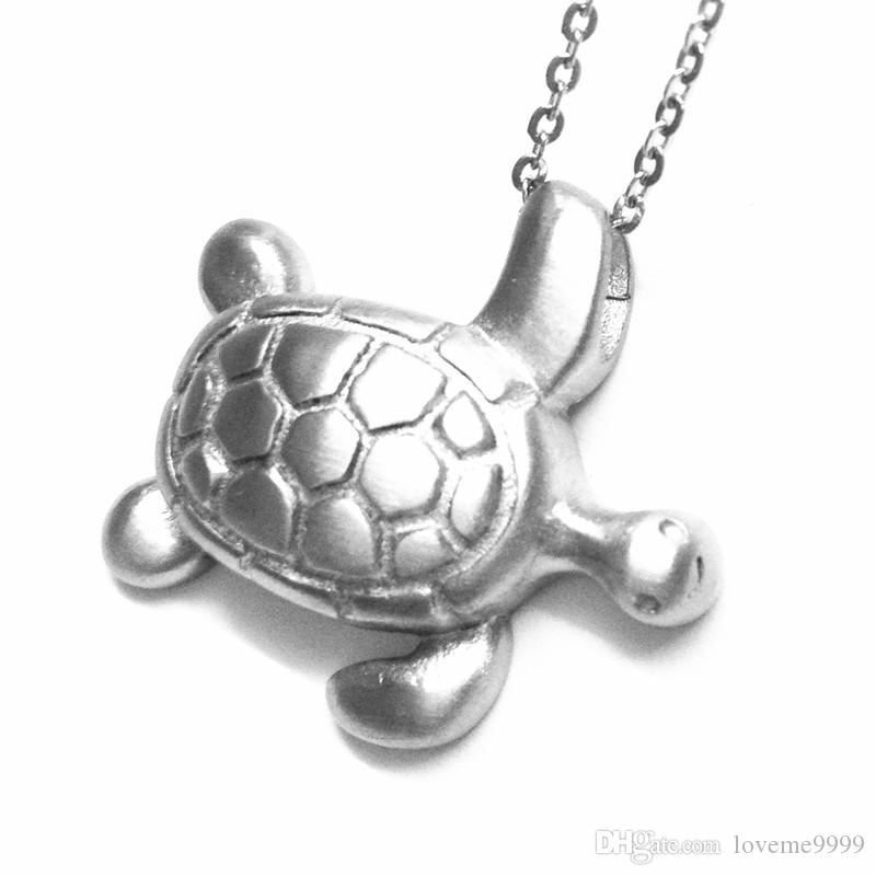 High quality Love openable 316L Stainless Steel Cremation Animal tortoise pendant Memorial Pets Ash Urns Lockets Pendants Necklace Jewelry
