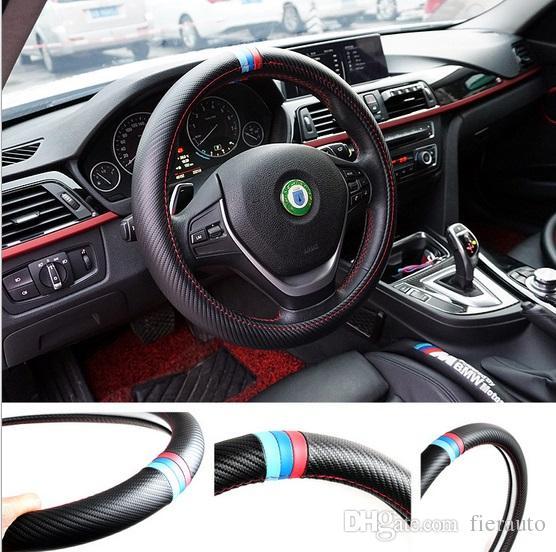 38 CM Car Styling Copertura del Volante Interno Decor Copertura In Fibra di Carbonio Sport Per BMW X1 X3 X5 E6 E36 E36 E36 E60 E90 E92