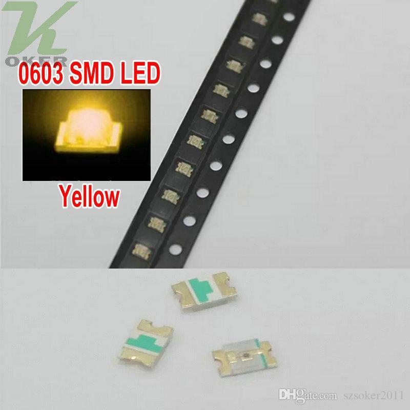 4000 PC / 릴 SMD 0603 노란색 LED 램프 다이오드 울트라 밝게