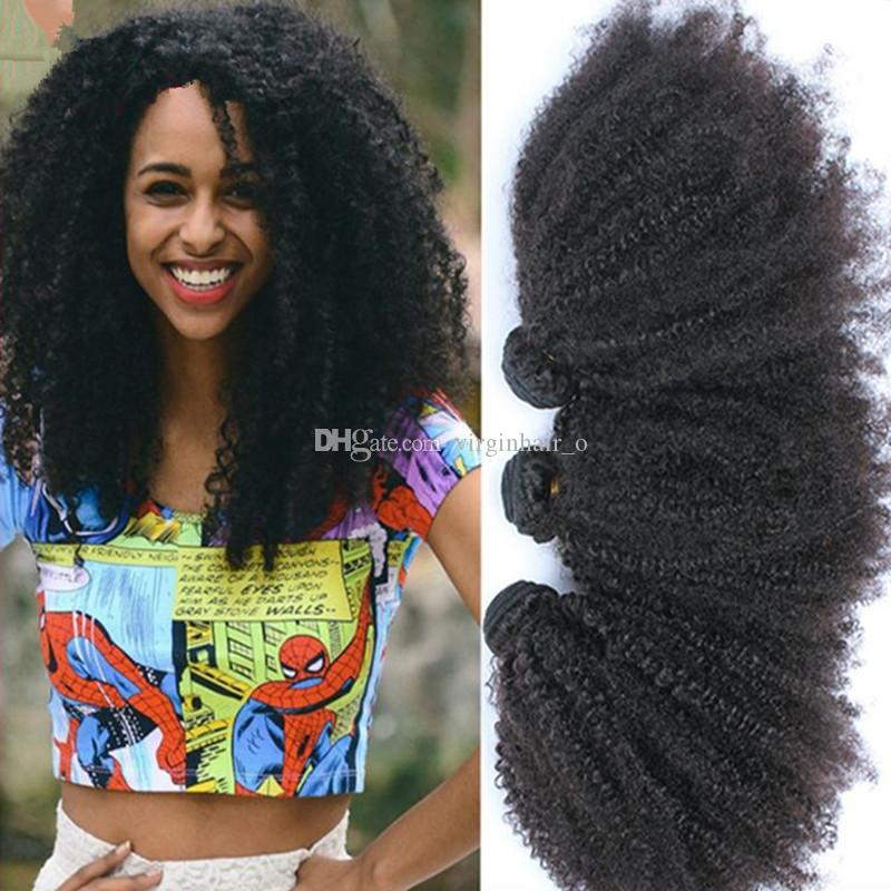 8A Grade Cheap Malaysian Hair Wefts Afro Kinky Curly Hair Weaves Human Hair Extensions 3 Bundles Lot DHL Fast Free Shipping 10-30inch