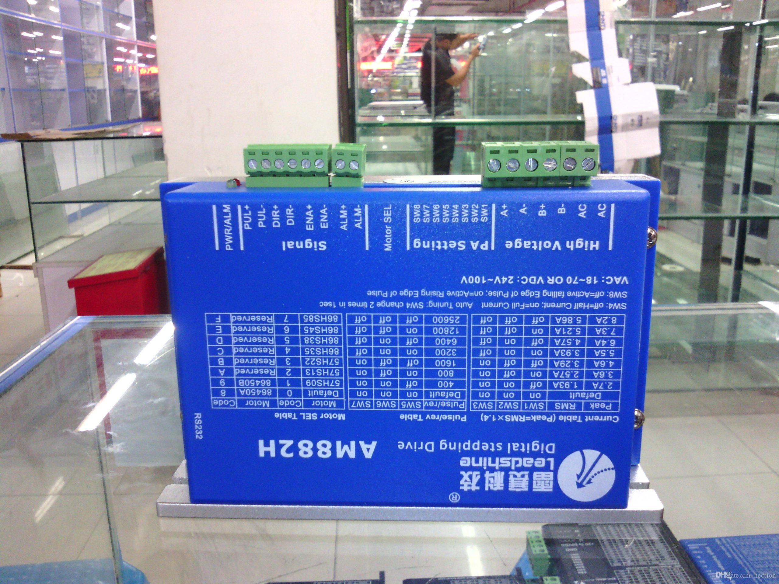 Spedizione gratuita Leadshine driver passo-passo a 2 fasi AM882H adatto NEMA 23/34/42 motore passo-passo lavoro 36-80VDC fuori driver 2.7A-8.2A CNC
