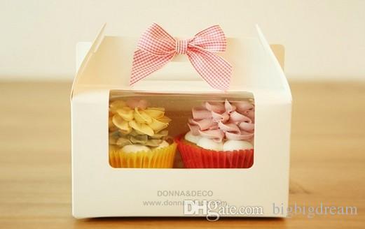 Оптовые 4 чашки торт коробки с оконными ручками, 15,5 * 15,5 * 10 см 4 стилей торта коробок, небольшая Маффин подарочной коробка 100шт / LOT освобождает перевозку груза