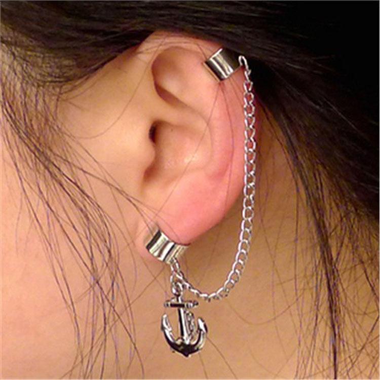 2017 Nuevos Especiales Especiales Estilo Borlas de Plata Con Textura Anchor Pierced Ear Clip Mash Sin Oído Clip de Hueso Oído Colgando