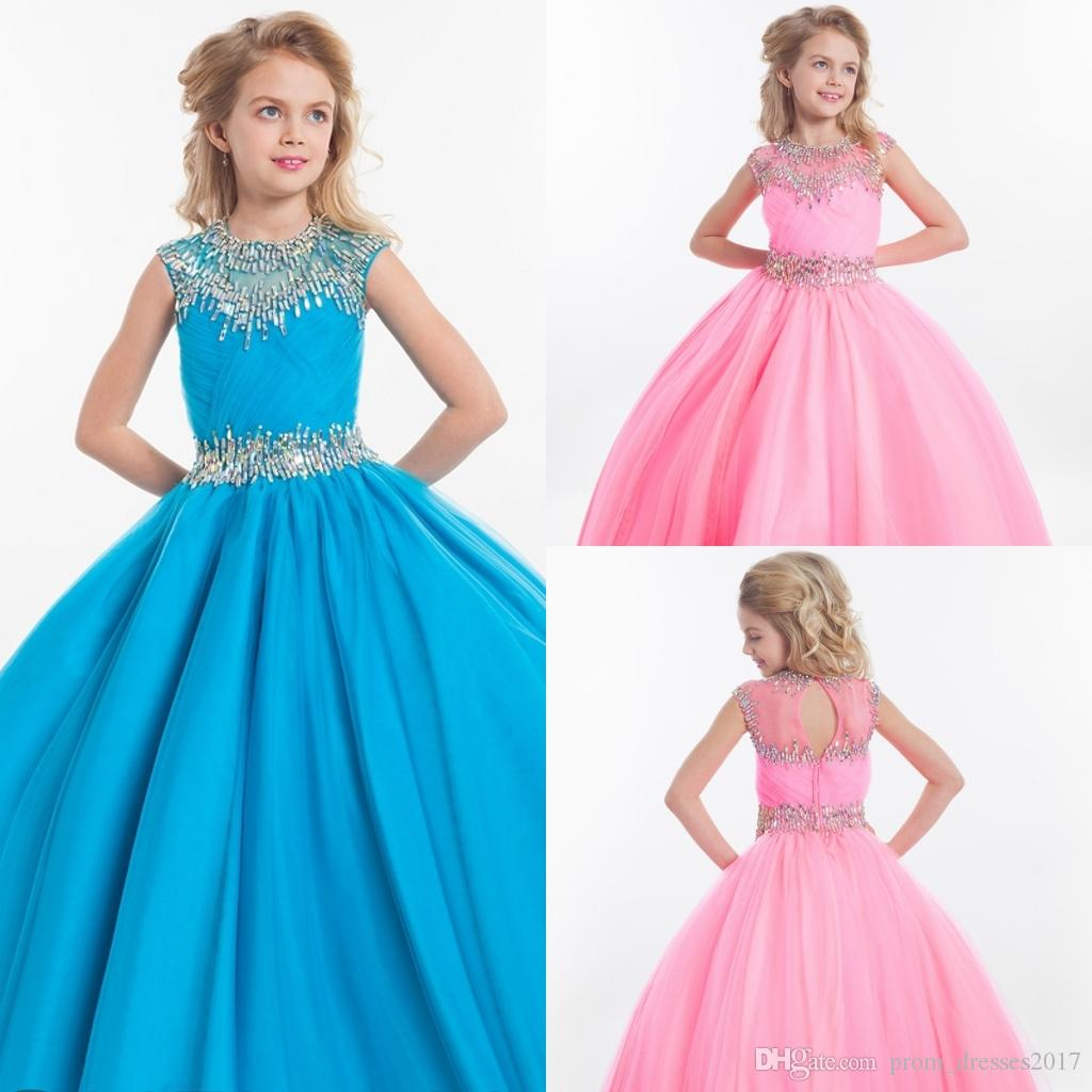 Rachel Allan Girls Begeant Dresses Teens 환상 목 뚜껑 소매 싱크 스카이 블루 핑크 긴 파티 키즈 꽃 소녀 가운 hy1138
