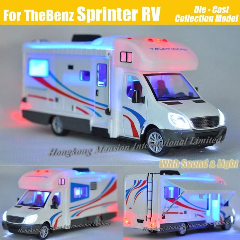 1:32 Scale Alloy Metal Diecast Collection Car Model For Sprinter Luxury Motorhome Recreational Vehicle RV Trailer Caravan Model