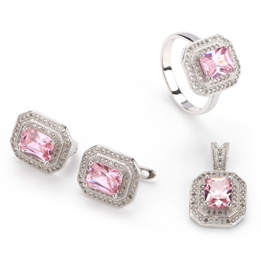 Copper Rhodium Plated Cute heart set (ring/earring/pendant) Pink Cubic Zirconia Noble Generous MN3240set sz#6 7 8 Recommend The new listing