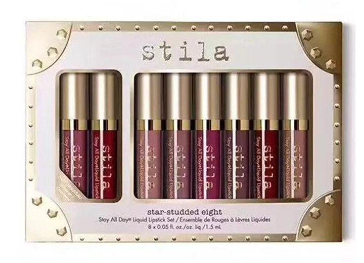 새로운 메이크업 브랜드 스틸라 8pcs 립글로스 리퀴드 립스틱 고품질 DHL 배송