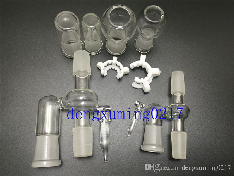 new14mm Adaptateur en verre pour récupérateur d'huile 18mm pour conduites d'eau en verre Bangs Livré avec joint coudé à 90 degrés