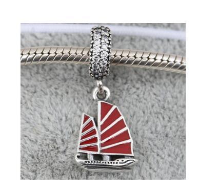 Contas de prata esterlina 925 contas Chinês Junk Ship, Esmalte vermelho Limpar CZ Serve para Pandora Jóias Pulseiras Colar 2016 summe