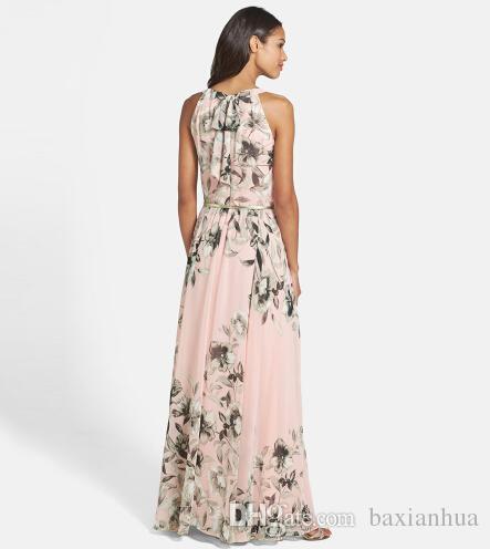Mujeres al por mayor del vestido largo del cuello de O la impresión floral de la gasa del vestido maxi casual elegante de Boho del partido de los vestidos Vestidos con cinturón