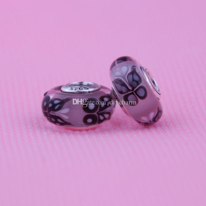 Приступы для Pandora Diy браслет ожерелье Оригинальное 100% стерлингового серебра 925 розовая бабочка целует Charm муранского стекла бисера