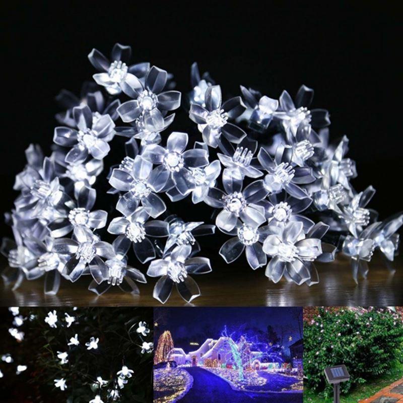 Lampes solaires 7M 50LEDs Fleur Fleur Décoratif Lumières Étanche fée blanche Jardin En Plein Air De Noël Solaire Led Lumière