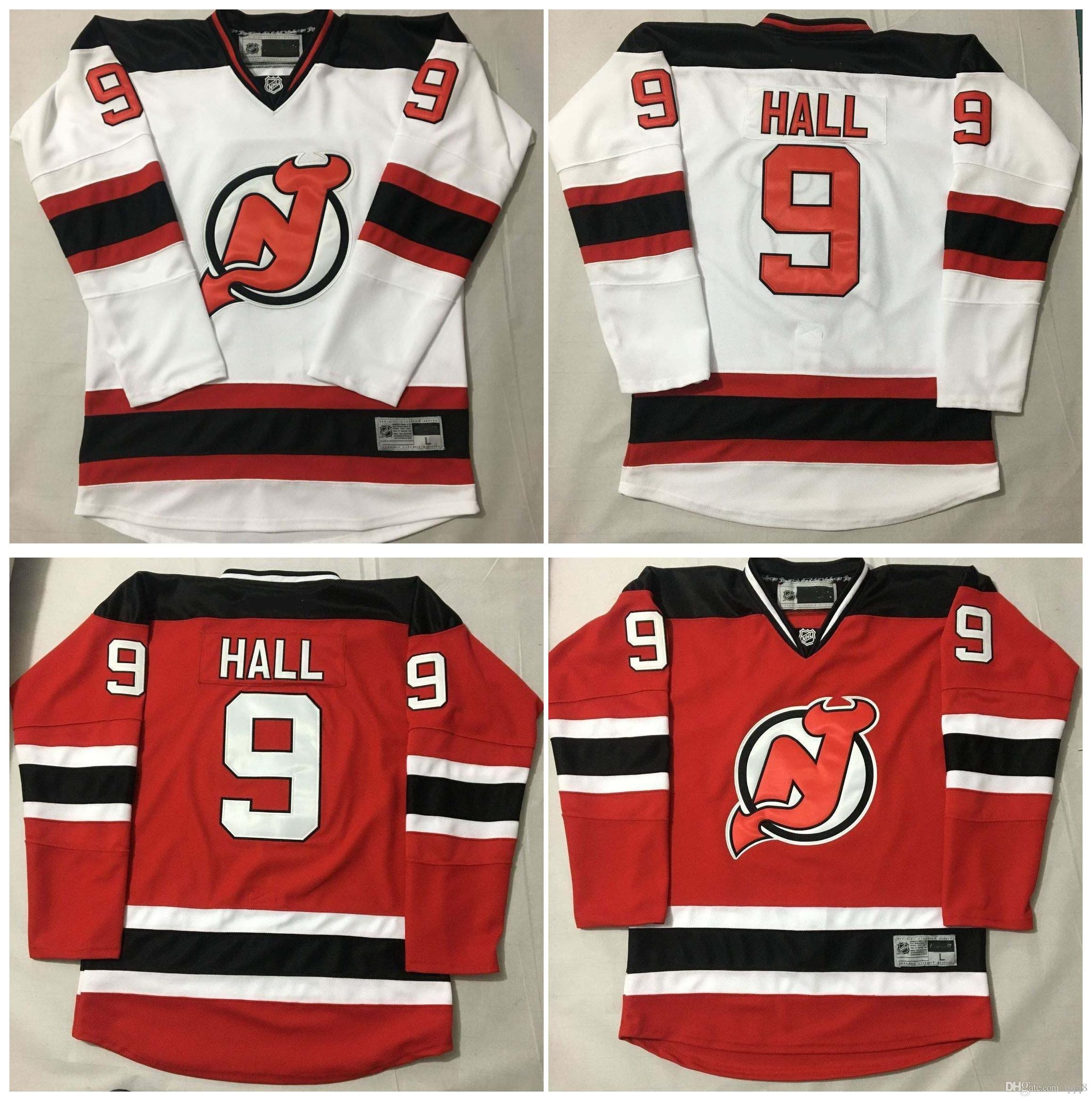 Qualidade máxima ! 2016 Homens New Jersey Devils Camisolas De Hóquei Barato # 9 Taylor Hall Jersey Branco Vermelho Autêntico Costurado Jerseys Ordem Mix!