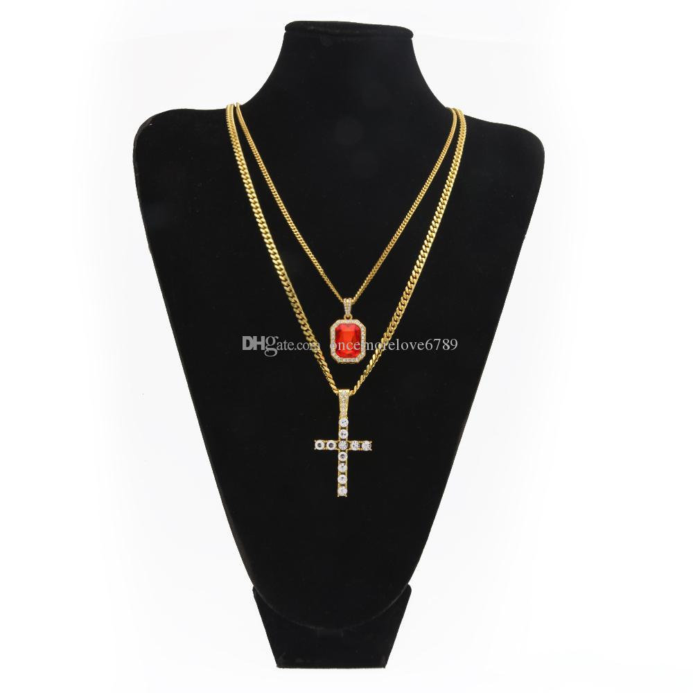 Bling Rhinestone Cross Pendant With Red Ruby Bouble Pendants Necklaces Set With 3mm&5mm Cuban Link Chain Necklace