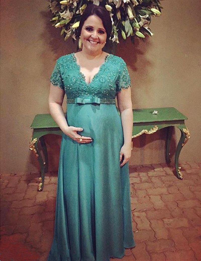 Новый элегантный империи материнства вечерние платья с коротким рукавом V-образным вырезом из бисера кружева шифон длиной до пола, беременные платья на заказ